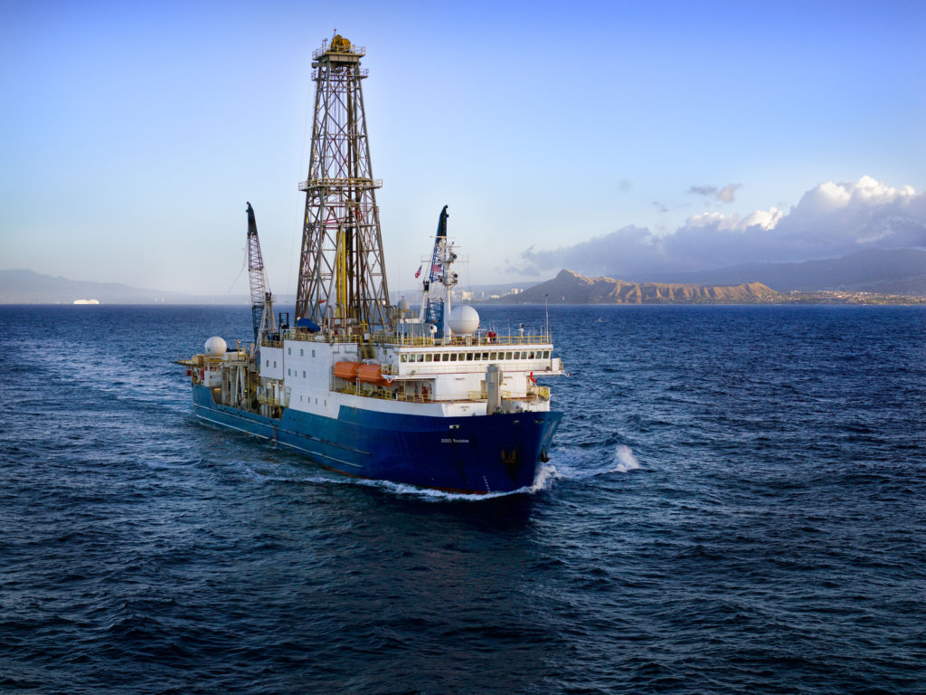 JOIDES Resolution is a scientific drilling ship used by the Integrated Ocean Drilling Program. PETM sediment sections have been recovered during past expeditions of the JOIDES Resolution. Credit: International Ocean Discovery Program (IODP)