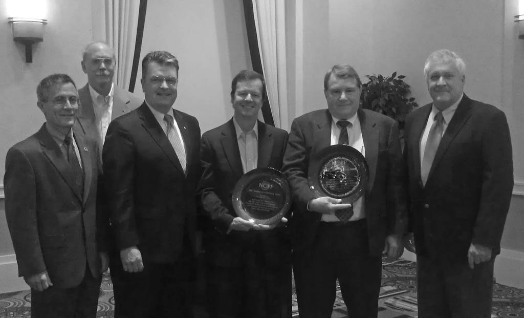 Project sponsors and awardees of the NOPP Excellence in Partnering Award, from left to right: Tim Arcano. NOAA; Walter Johnson, BOEM; Craig McLean, NOAA; Chuck Fisher, Penn State University (Awardee); Jim Brooks, TDI-Brooks, Inc. (Awardee); and Greg Boland, BOEM.