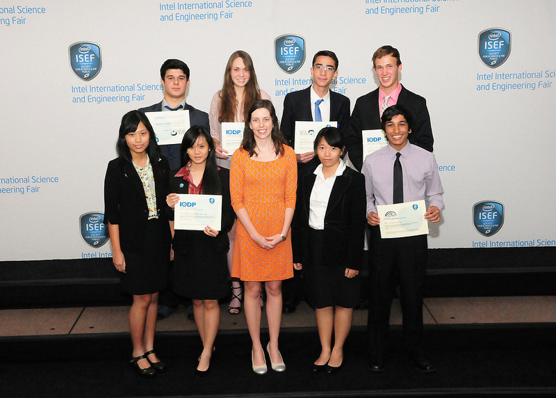 Ocean Leadership awardees receive their awards at the ceremony May 16, from staff member Allison Miller: Back row from left to right: Omer Faruk Altun, Jamie Odzer, Abdullah Koca, and Connor Burton Front row from Left to Right: Jovinta Nathania, Rosinta Handinata, Allison Miller, Maria Lestari, and Neil Nathan.