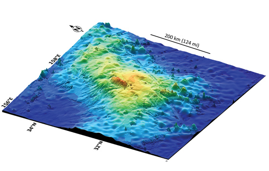This 3D image of the seafloor shows the size and shape of Tamu Massif, a huge feature in the northern Pacific Ocean, recently confirmed to be the largest single volcano on Earth. (Image courtesy Will Sager)