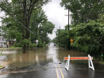 Flooding in Ewing Township, Mercer County, New Jersey