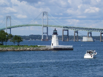 Newport Harbor Light in Newport, Rhode Island (credit Wikimedia Commons, Public Domain)