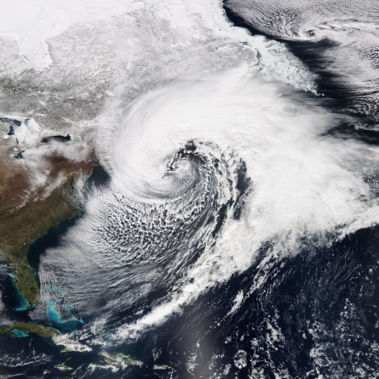 A massive and powerful nor'easter affecting the Northeastern United States on March 26, 2014, at peak intensity. Photo credit: NOAA/Wikimedia Commons