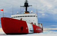 (Click to enlarge) The U.S. Coast Guard Polar Star Class Icebreaker USCG Polar Sea (WAGB 11) sits on the ice after a day-long ice breaking operation around McMurdo Sound, Antarctica, on March 15, 2007. (Credit: Kevin J. Neff/U.S. Coast Guard)