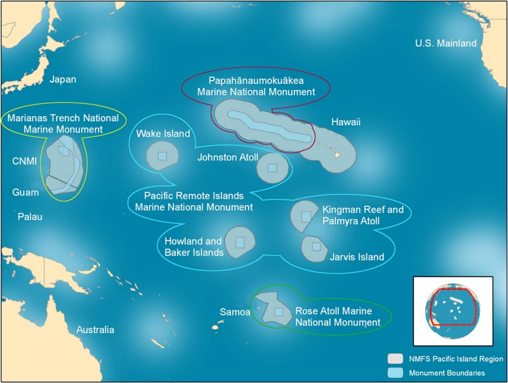 Within the blue outline, the Pacific Remote Islands Marine National Monument currently contains the areas in the light blue squares. Expansion could include anything up to the full grey areas surrounding each bit of land. (Map credit: NOAA)